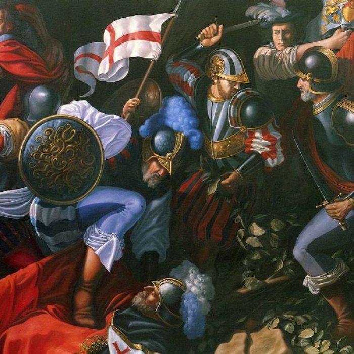 Carlo Fvsca 1990 Nella notte dei Templari - olio su tela cm._risultato